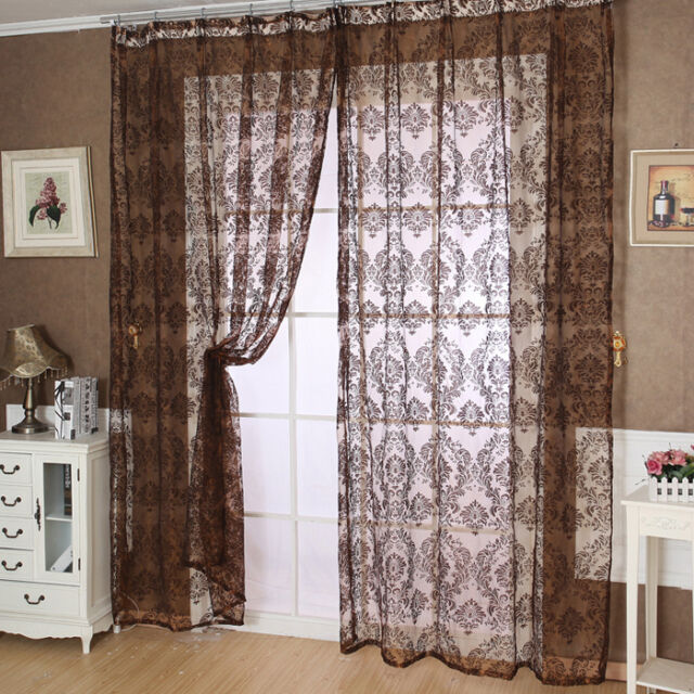 European Classical Style Tulle Window Screens Balcony Curtain Panel