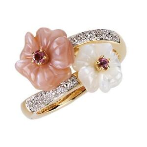 14K-Yellow-Gold-Pink-Tourmaline-and-Mother-of-Pearl-Diamond-Flower-Ring-Size-7