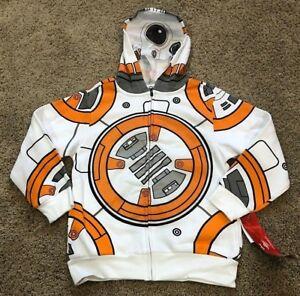 NWT Disney Star Wars Kids White BB8 Full-Zip Hoodie Hooded Sweatshirt XS S M L