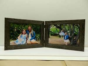 8x10-Black-Rustic-Double-Hinged-Horizontal-Wood-Photo-Picture-Frame-New