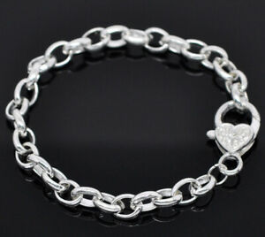 10-x-Silver-Plated-Link-Chain-Bracelet-with-Large-Heart-Lobster-Clasp-20cm