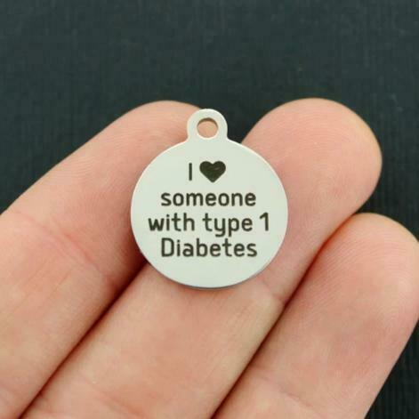 Medical Stainless Steel Charms BFS1523 I love someone with type 1 Diabetes