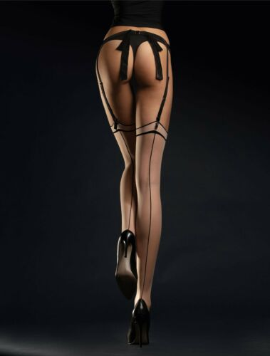 MADAME 20 Den contrasting back seam stockings by Fiore Paris of the 50's NEW