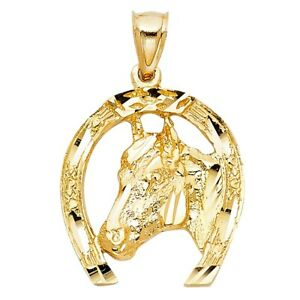 Faceted-Cut-Gloss-Real-14k-Yellow-Solid-Gold-Horse-Shoe-1inch-Luck-Charm-Pendant