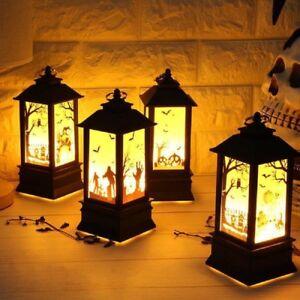 Halloween-Pumpkin-Castle-Witch-Light-Lamp-Flame-Party-Hanging-Decor-LED-Lantern