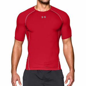New Under Armour HeatGear Compression Fit T-Shirt Men's Choose Size Blue or Red