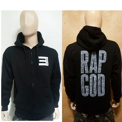 Eminem RAP GOD  BLACK ZIPPER  ZIP UP PULLOVER HOODIE  Slim Shady rap god
