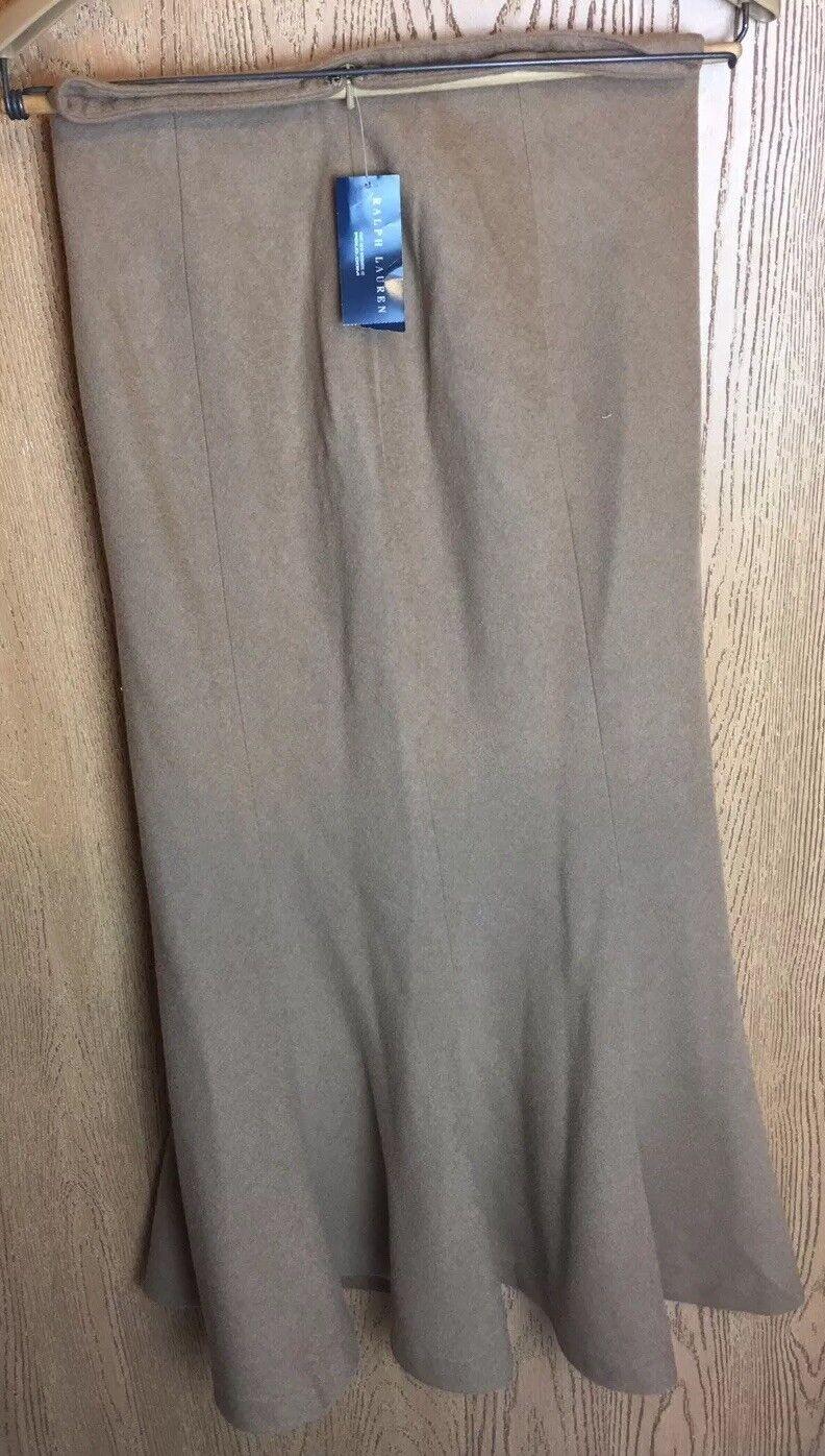 Ralph Lauren bluee Label Womens 4 100% Camel Hair Midi Maxi Trumpet Skirt