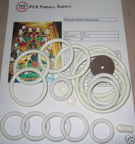 1953 Williams Fairway Pinball Machine Rubber Ring Kit