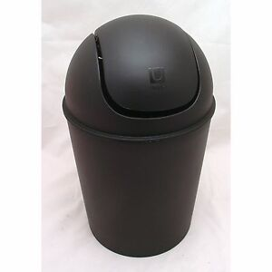Contemporary mat black polypropylene 1 5 gallon mini swing lid trash waste can ebay - Umbra mini trash can ...
