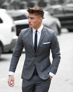 Slim Fit Gray 2 Piece Notch Lapel Groom Tuxedo Groomsman Men S Wedding Prom Suit Ebay