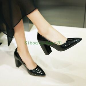 Womens-Patent-Leather-Clubwear-Shoes-Pointy-Toe-Pumps-Block-High-Heel-Pull-On-sz