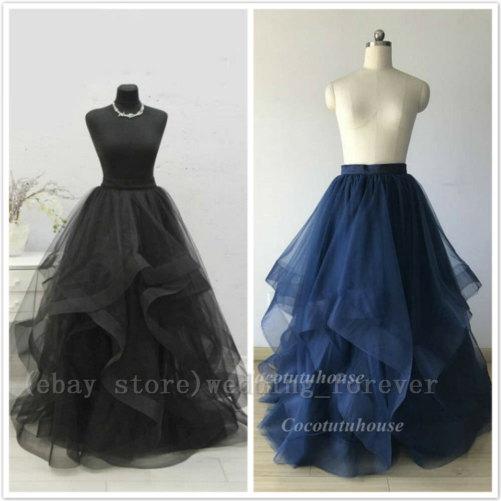 Vintage Long Tulle Bridesmaid Skirts Wedding Party Maxi Bridal TUTU Prom Skirts