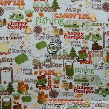 BonEful Fabric FQ Cotton Quilt Cream Camp Fire Log Cabin RV Girl Boy Scout Small