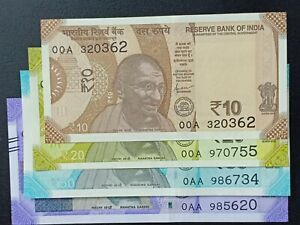 India-New-10-20-50-amp-100-Rupees-2019-Issue-First-Prefix-00A-0AA-UNC