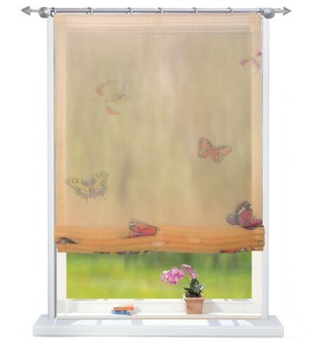 Raffrollo Raffgardine mit Klettband B 60 cm x H 140 cm Gelb mit Schmetterling