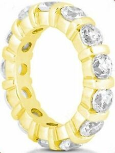 2-90-ct-Round-DIAMOND-ETERNITY-RING-Wedding-BAND-with-Bar-14K-Yellow-Gold-size-8