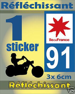 1 Sticker Reflechissant Département 91 Rétro-réfléchissant Immatriculation Moto Goed Voor Antipyretische En Keel Fopspeen