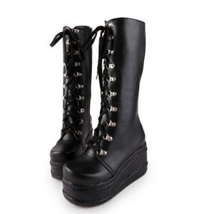 Mid-Calf-Boots-Leather-Punk-Biker-Lace-Up-Platform-Women-039-s-Cosplay-Style-34-50