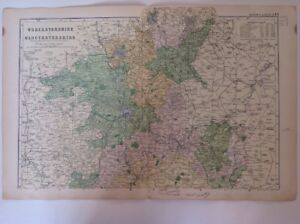 Worcestershire-amp-Gloucestershire-1904-Antique-County-Map-Large-Bacon-039-s-Atlas
