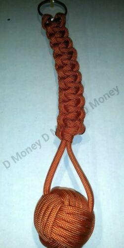 """Paracord Monkey Fist Keychain Cordon Avec 1/"""" Acier Roulement Burnt Orange"""