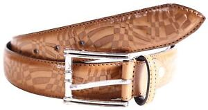 Mens Brown Border Stitched Full Hole Design Office Pin Buckle Belts S-3XL