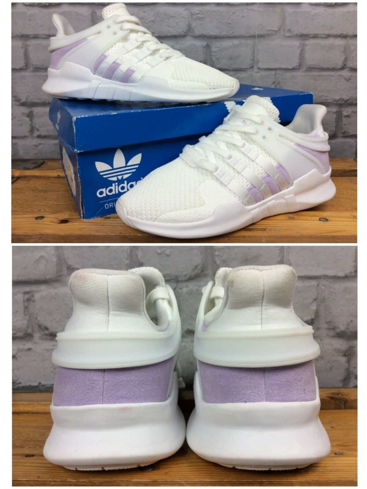 ADIDAS LADIES UK 5 EU 38 Weiß lila EQT SUPPORT ADV TRAINERS lila LOGO LG