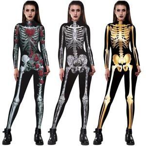 2a672110f8 Image is loading Halloween-Women-Skeleton-Bone -Frame-Jumpsuit-Bodysuit-Fancy-