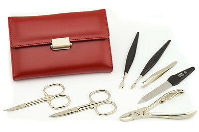 Niegeloh Solingen Diabolo L Manicure Gift Set For Women Red Leather 7 Ps Germany