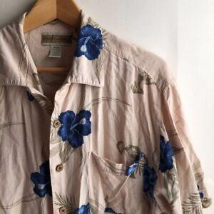 Herren-Hellbraun-Beige-Blau-Hawaii-Blumen-Rayon-Kurzarm-Button-Down-Shirt-Medium