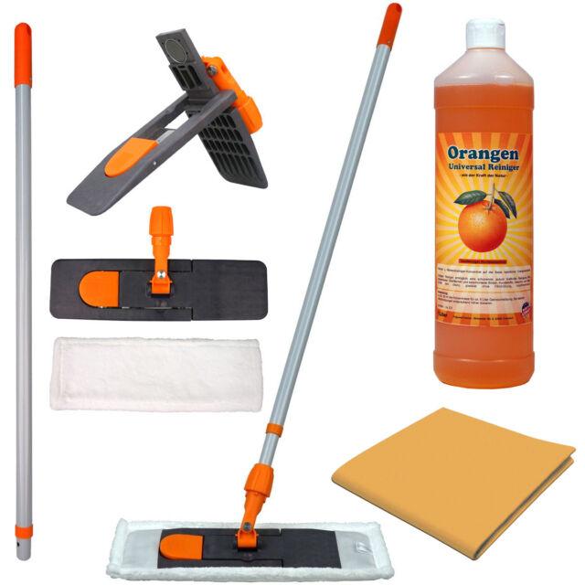 Reinigungsset - Magnet Mophalter 40cm + MF Mopp + 1L Orangenreiniger + Vliestuch