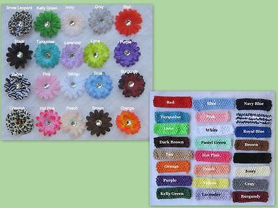 12+3 Spring Flower Clip Daisy 3 Crochet Hair Headband Xmas Baby Bow Lot Large