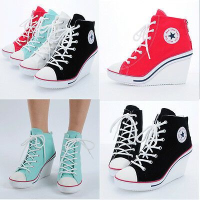 Wedges Trainers Heels Sneakers Platform High Top Ankles Lace Ups Zip Boots 7Back