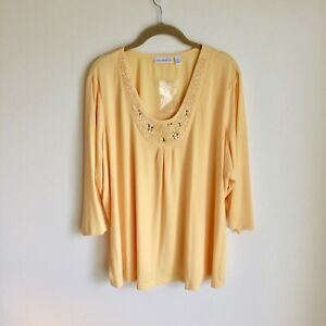 Susan-Graver-Yellow-TOP-W-Sequins-NWTS-Size-2X