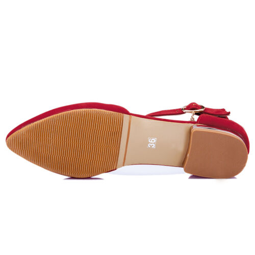 New 4 Colors Mary Janes Ballet Flat Laady Ankle Strap Pointed Toe Retro Shoes 18