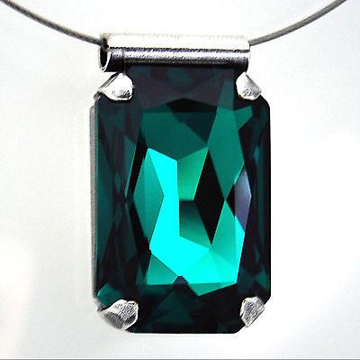 Halsreif Edelstahl Kette + Anhänger Swarovski Kristall Rechteck – Emerald – grün