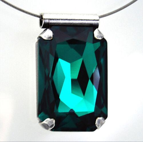 Emerald Halsreif cadena de acero inoxidable verde remolque Swarovski cristal rectángulo