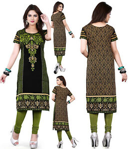 UK-STOCK-Women-Printed-Bolloywood-Kurti-Tunic-Kurta-Top-Shirt-Dress-118C