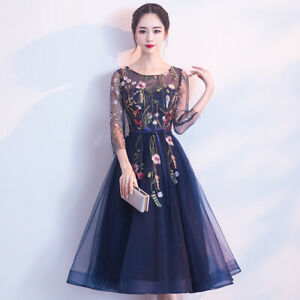 Women-Crew-Neck-Embroidered-Long-Dress-Lace-Mesh-Cocktail-Formal-Evening-Dresses