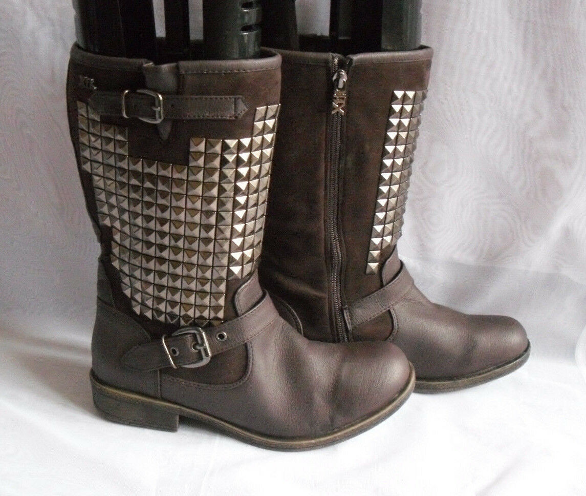 XTI TERRITORY WOMENS  DARK BROWN ZIP SYNTHETIC MID CALF BOOTS Size:6/39(WB71<wbr/>1)