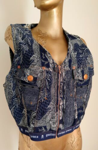 Vintage Jean Paul Gaultier Denim Tapestry Vest Dra