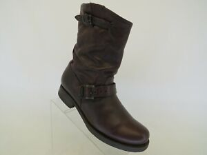 """FRYE Brown Leather Engineer Buckle 9"""" Mid Calf Boots Womens Size 9.5 B"""