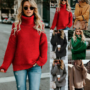 Women-Turtleneck-Knit-Chunky-Sweater-Ladies-Winter-Oversize-Jumper-Top-Knitwear