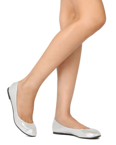 Breckelles Abby-21 Women Metallic Leatherette Round Toe Ballet Flat