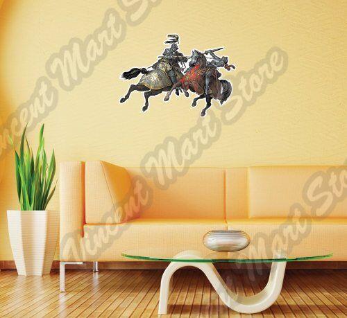 "Knights Tournament Medieval Knight Horse Wall Sticker Interior Decor 25/""X18/"""