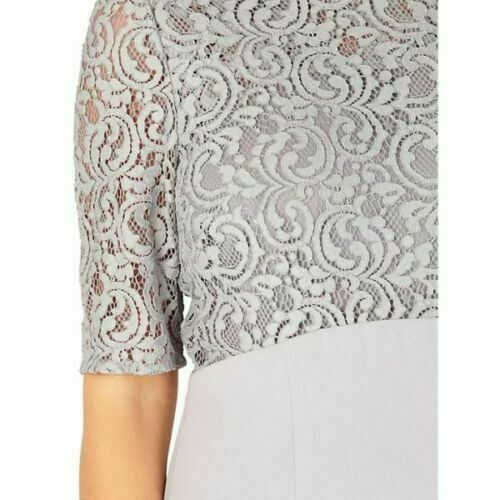 New Jacques Vert dress 14 16 18 22 Grey Lace short sleeves shift knee rrp