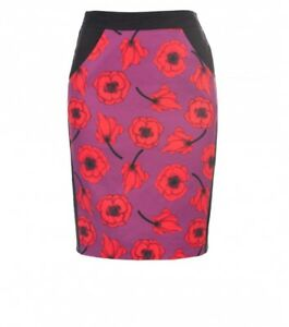 ALANNAH-HILL-034-She-039-s-Messed-Up-034-Pencil-Skirt-Black-Red-Purple-Floral-Designer-6