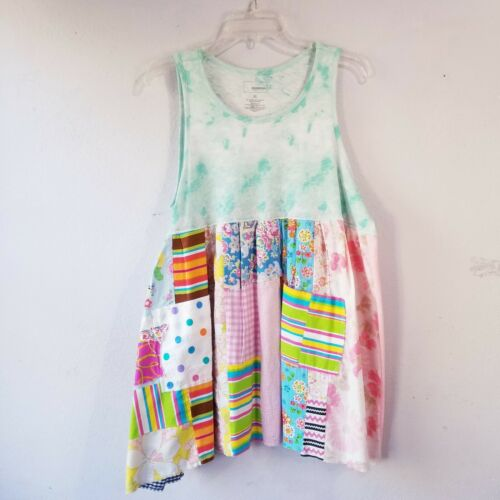 Upcycled Green Tie Dye Tank Top Summer Dress Tunic