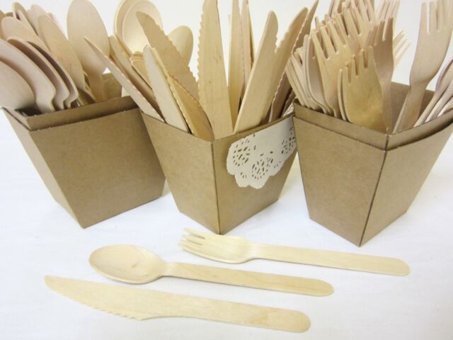 72 PACK WOODEN FORKS SPOONS KNIVES DISPOSABLE WOODEN CUTLERY PACK