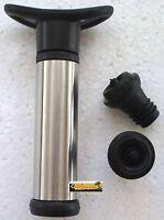 Vacuum Pump Wine Preserver Gift Set 2 Stoppers Chrome Pump Air Wine Bottle Drink
